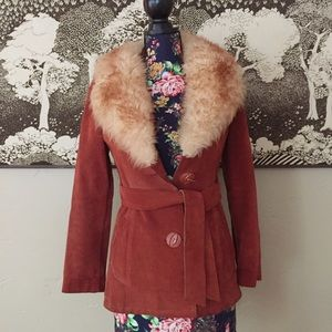 Vintage Casual Corner Suede Faux Fur Collar Coat